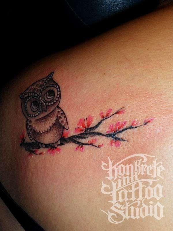Red Blossom Tree And Owl Tattoo Tattoomagz