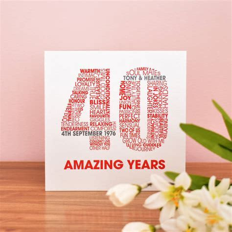 personalised ruby 40th wedding anniversary card by mrs l