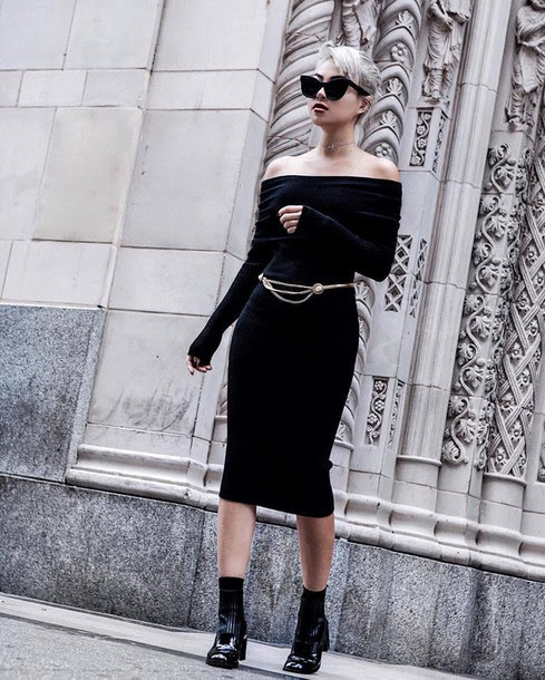 Bodycon dress with sweater