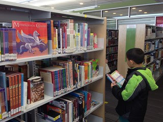 well-stocked children's shelves and young browser