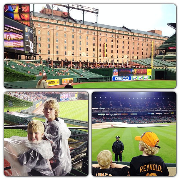 They made it through the rain delay...#latergram, #orioles, #brothers, #macefamilysummer