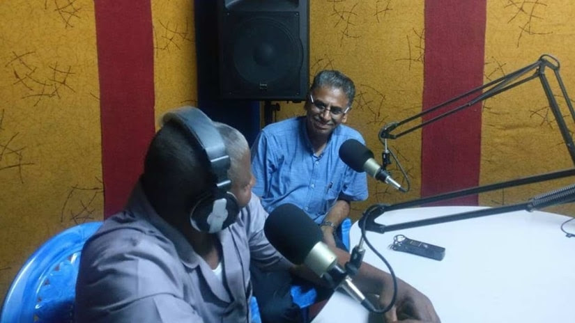 Professor Vinod Pavarala at a community radio station near Douala in Cameroon in December 2017. Image courtesy Facebook account of Vinod Pavarala