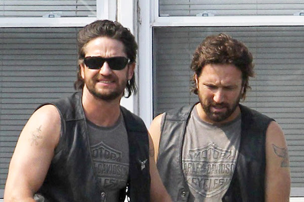 Gerard Butler And His Stunt Double On The Set Of Machine Gun Preacher