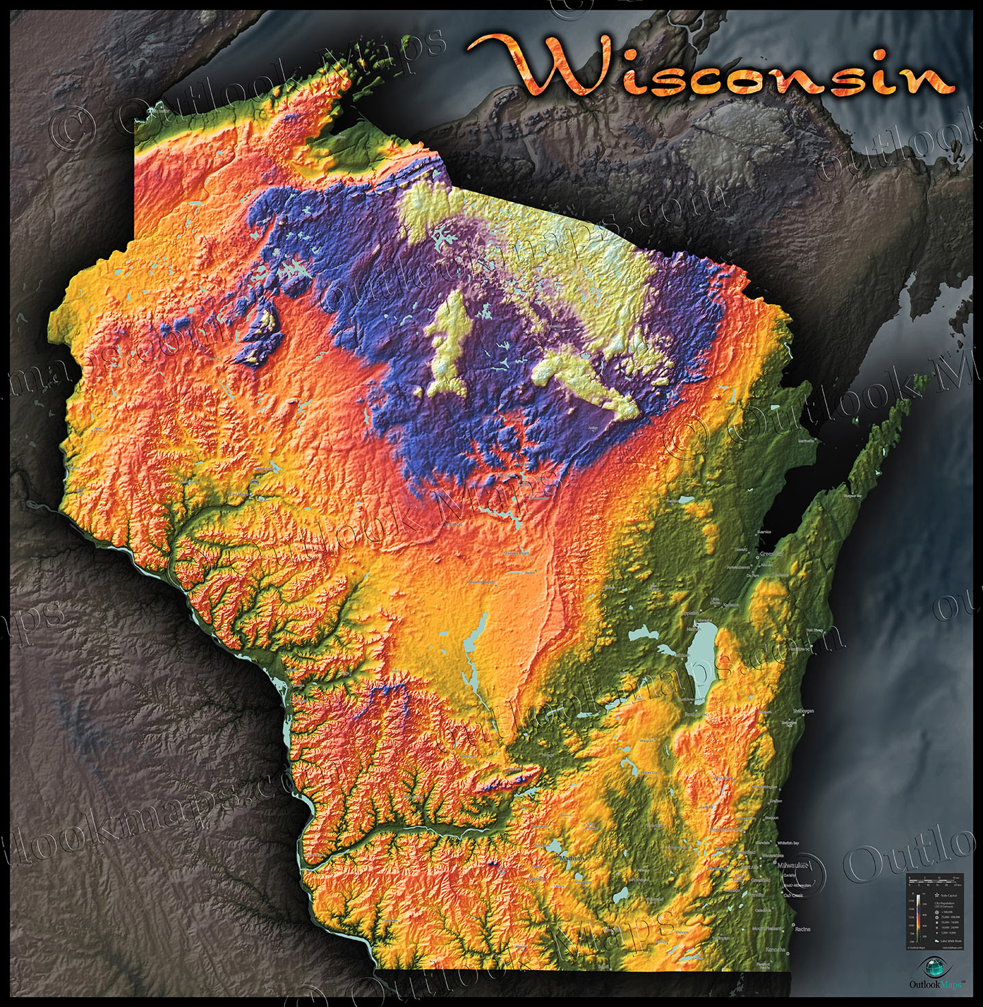 Elevation Map Of Wisconsin | World Map Interactive