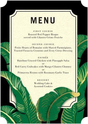 menu design for a tropical party or wedding   Wedding