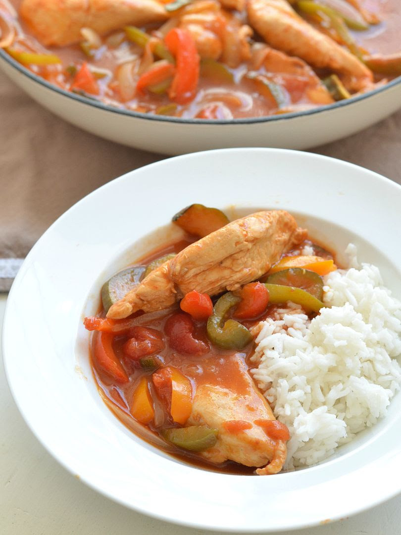 Chicken and Vegetables in Barbecue Sauce
