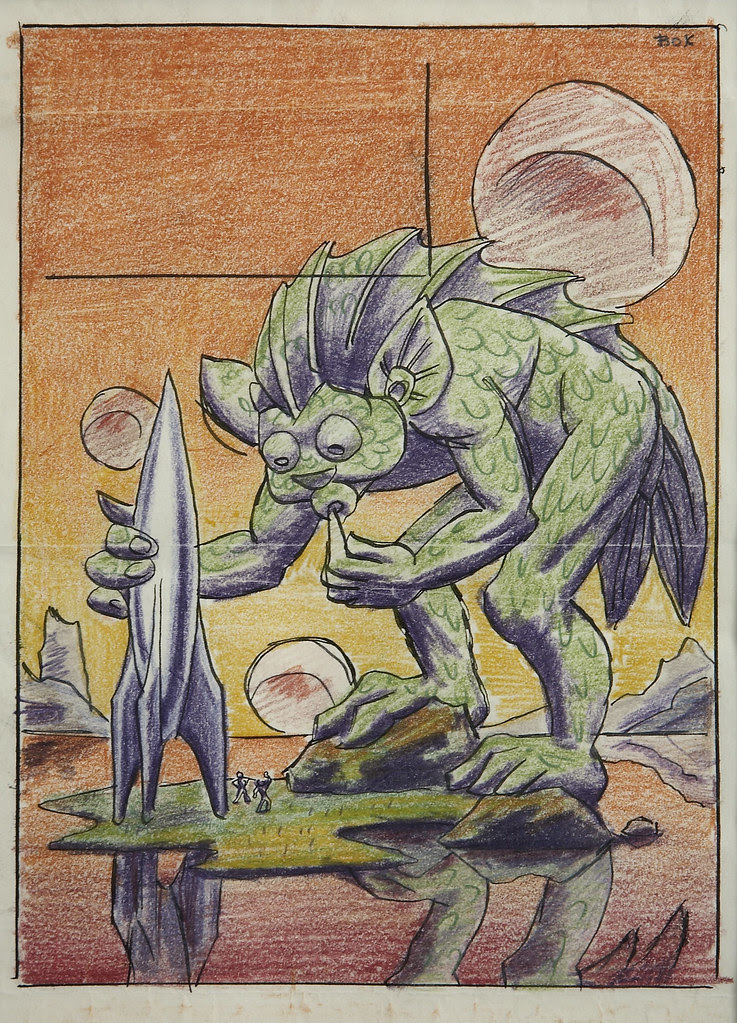 Hannes Bok - Creature and Spaceship, pulp cover preliminary, circa 1950
