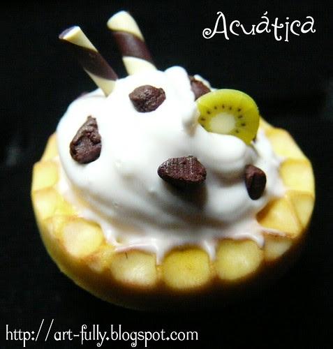 Gofre chocolate, kiwi y nata