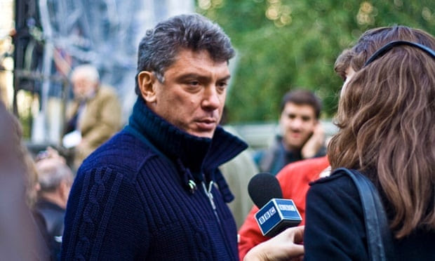 Nemtsov attending a rally in memory of killed Russian journalist Anna Politkovskaya in 2009.