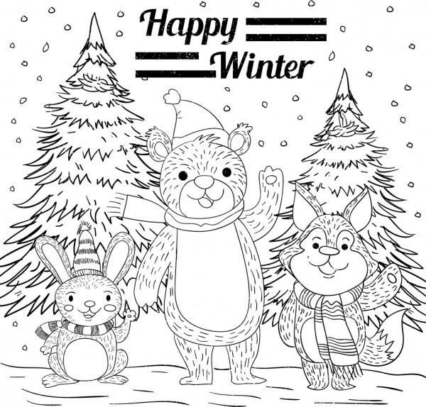 Musim Dingin Latar Belakang Beruang Kelinci Fox Ikon Handdrawn