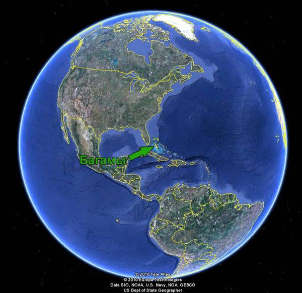 Положение Багамских островов на карте мира