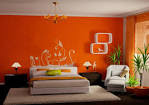 Using Orange as the Bedroom Wall Color to make it Look Fresher ...