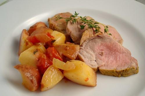 Pork Tenderloin with Tomato-Peach Compote
