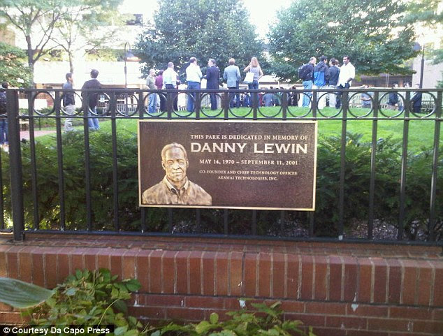 In memory: A plaque for Danny Lewin on the fence of a park named in his memory in Cambridge, Massachusetts, where he studied at MIT