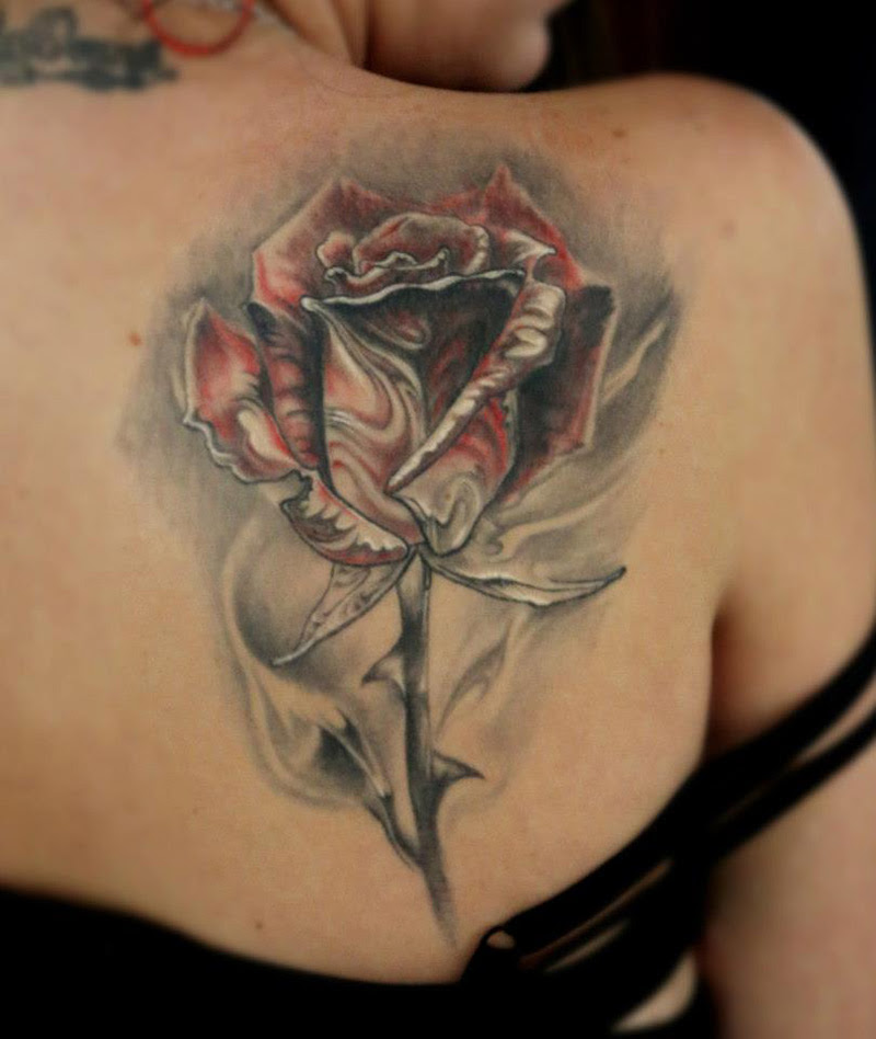 Rose On Shoulder Blade Best Tattoo Design Ideas