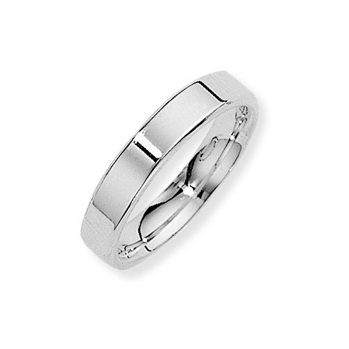 4mm Flat Court Band Ring Wedding Ring In 9 Ct White Gold product image