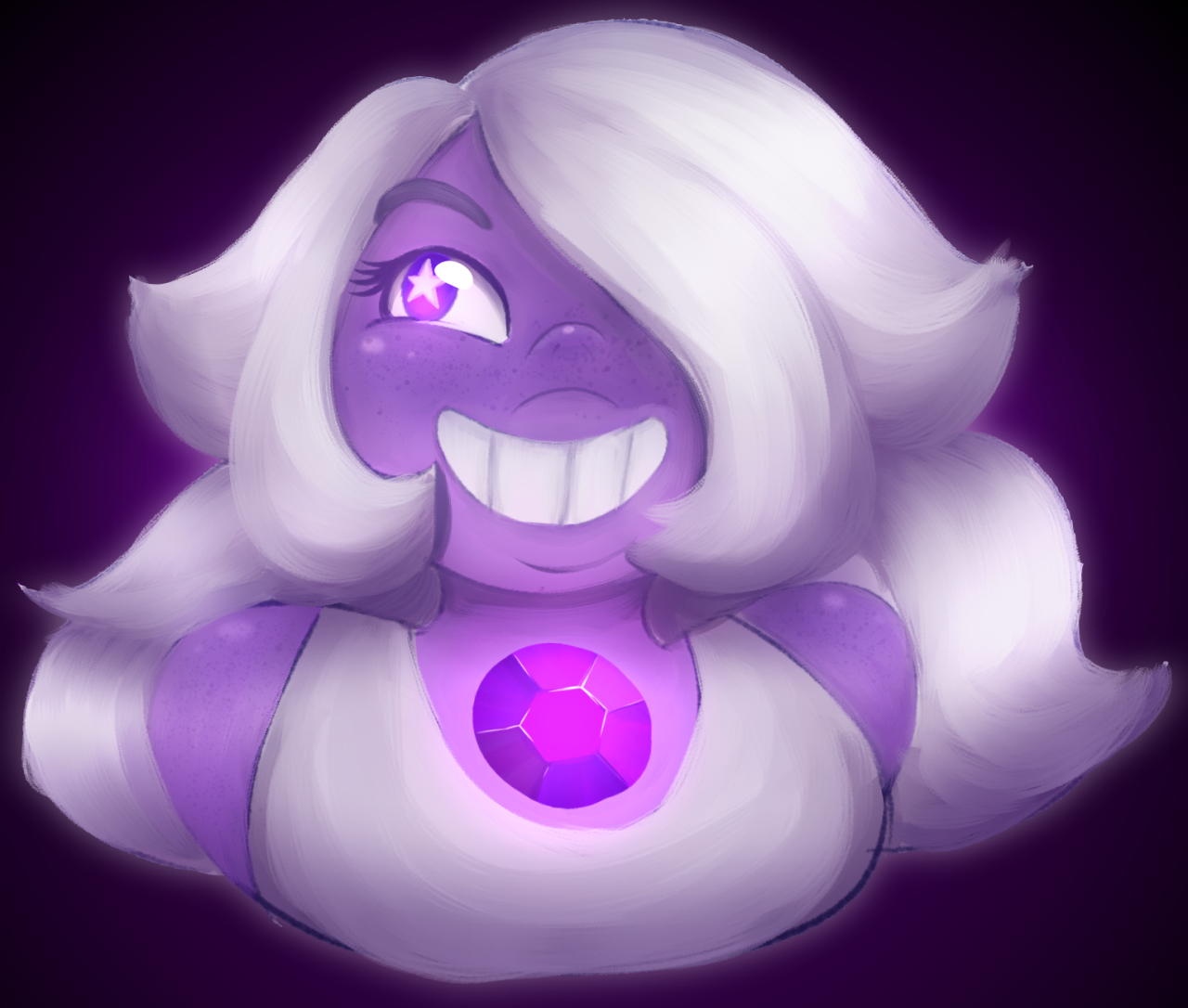 Painting Amethyst is like the most relaxing thing for me, her hair is so much fun Day 15