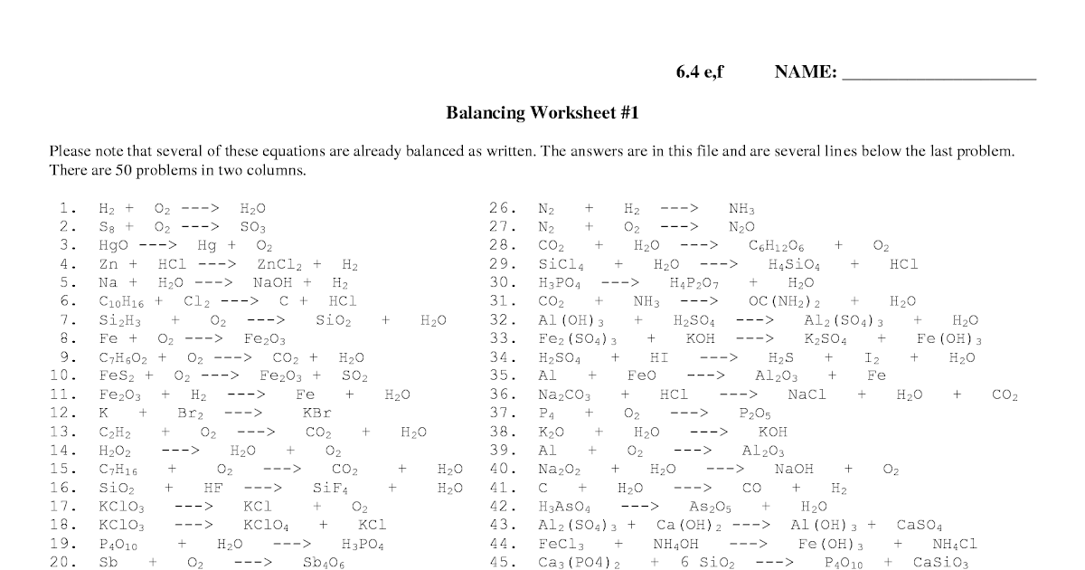 26 Balancing Equations Practice Worksheet Answer Key ...