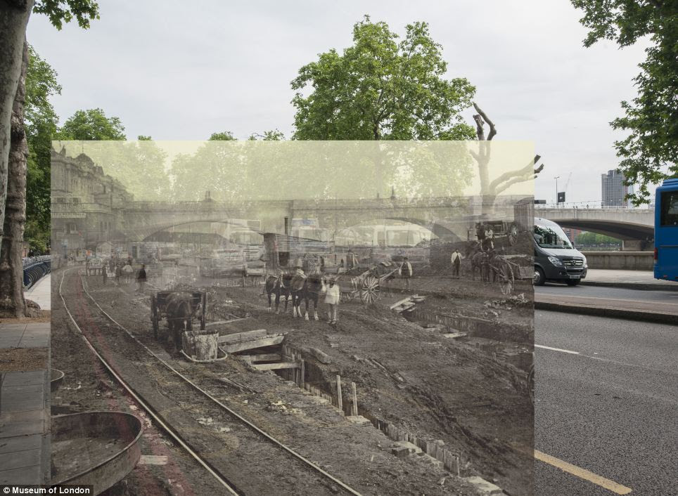 Construction site to the west of Waterloo Bridge and the foot of Savoy Street. The Victoria Embankment and the Metropolitan District Line were constructed simultaneously in 1868