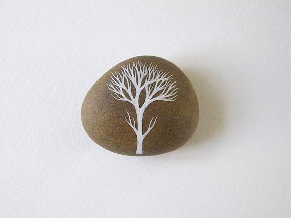 handpainted beach pebble // winter tree // by natasha newton