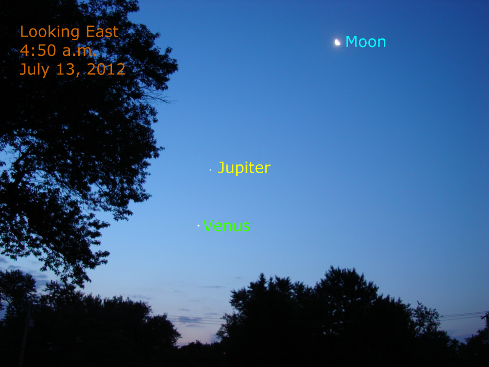 Friday, July 13, 2012 conjunction of venus, jupiter, and the moon