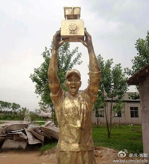 A statue built in honor of Stephon Marbury, who helped the Beijing Ducks win the 2012 Chinese Basketball Association (CBA) championship.