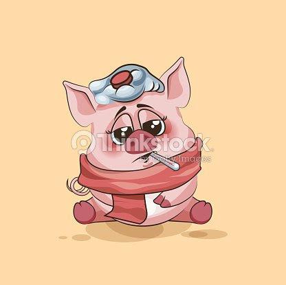 絶縁絵文字文字カットイラスト豚の丸焼きされた温度計をくわえる