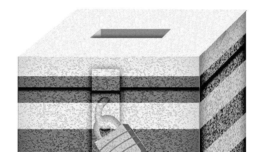 Illustration on imprisoned felons on the voter rolls by Alexander hunter/The Washington Times