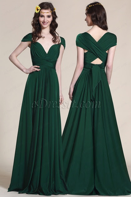 capped sleeves Convertible Dark Green Bridesmaid Dress