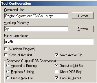 UltraEdit tool configuration for Gforth