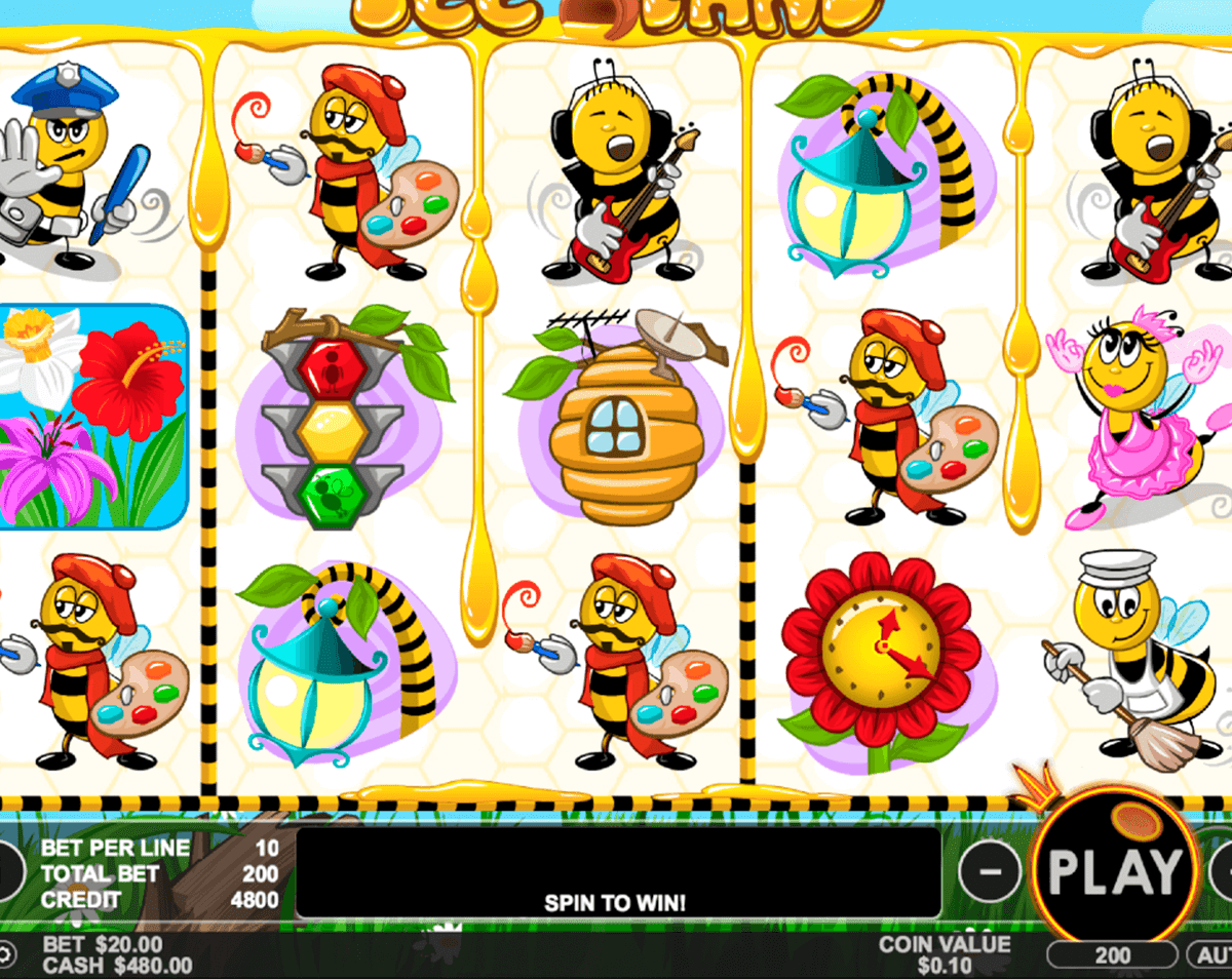 There is no Progressive Jackpot in the Bee Land slots game, however, there is plenty on offer to give players various chances to increase their initial wager.Bee Land Game Play.Pragmatic Play has ensured this online slots game is appealing to both high and low rollers by setting the coin denomination at /5.