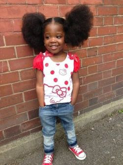 girl baby afro natural hair puffs