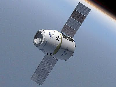 An artist's concept of the Dragon spacecraft in Earth orbit.