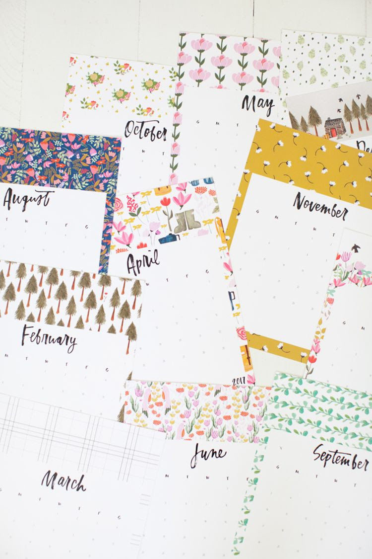 Printable Calendars for a More Floral 2017   Crafting, Rain and ...