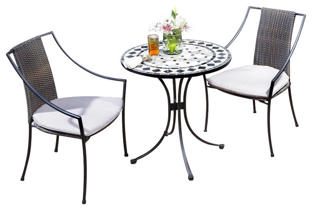 Home Styles Marble Bistro Table & 2 Chairs in Black & Gray ...