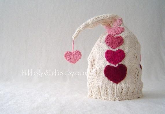Baby Valentine Hat - Hand Knit Hat - Red Pink Heart Pixie Hat (Newborn, Infant, Toddler, Child sizes) Knitted Children Clothing Accessories