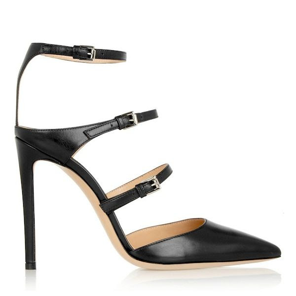 Le Fashion Blog Splurge Vs Save Gianvito Rossi Black Strappy Triple Buckled Pumps Sexy Date Night Out Affordable Alternative Shoes