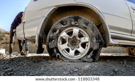 Burst Tire On Road Stock Photo 617049203 Shutterstock