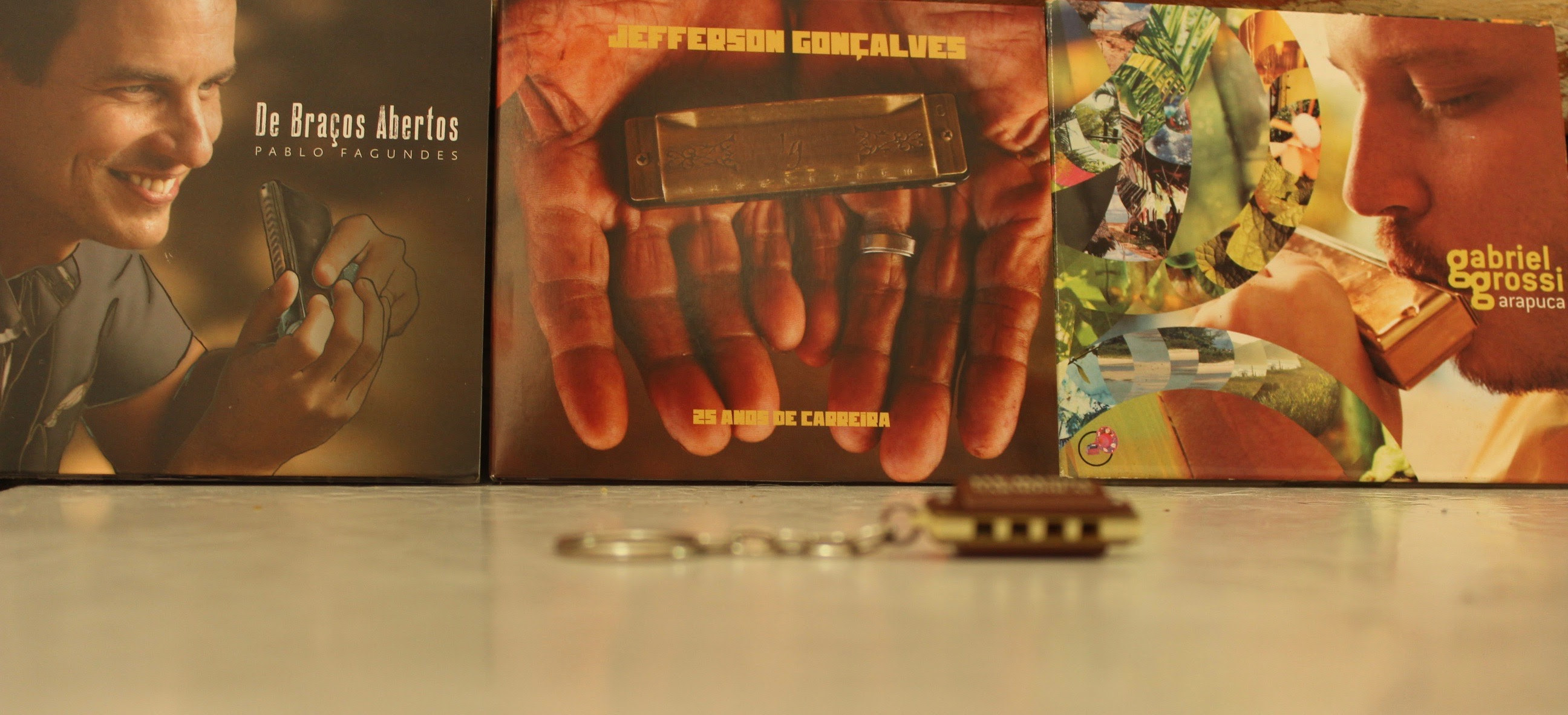(Algumas das recompensas: chaveiro e cd de 3 dos gaitistas envolvidos)