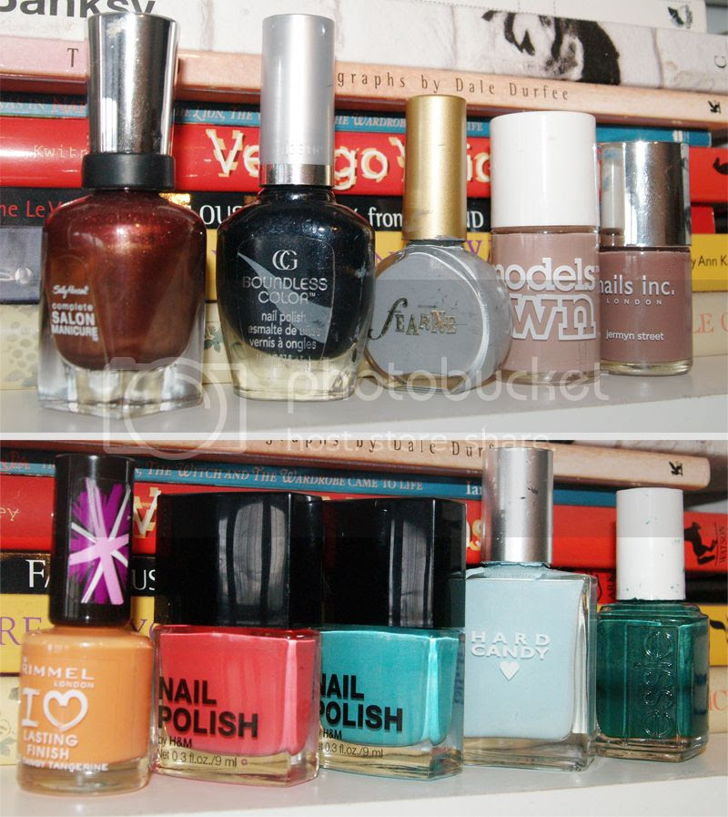 Favourite nail polishes displayed in bottles