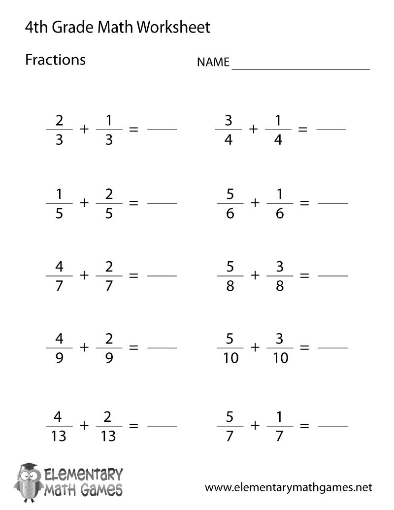 4th grade learning fractions worksheet printable