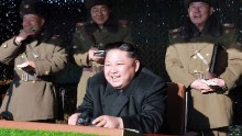 This undated photo released by North Korea's official Korean Central News Agency (KCNA) on December 11, 2016 shows North Korean leader Kim Jong-Un (front C) during a combat drill of the service personnel of the special operation battalion of the Korean People's Army Unit 525.