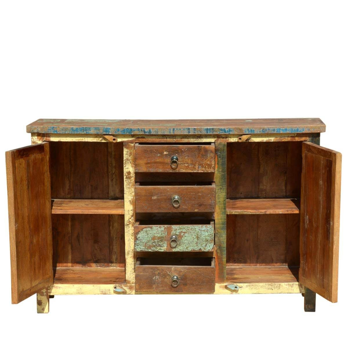 Reclaimed Wooden Mosaic Rustic Sideboard Buffet Cabinet