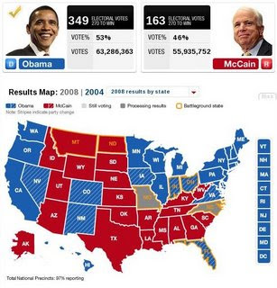 Almost-final electoral map from CNN.com
