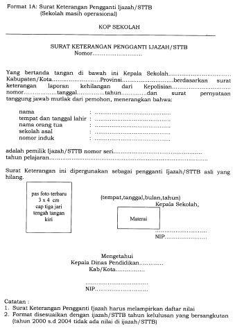Contoh Surat Keterangan Ijazah Hilang Dari Sekolah Kumpulan Surat Penting