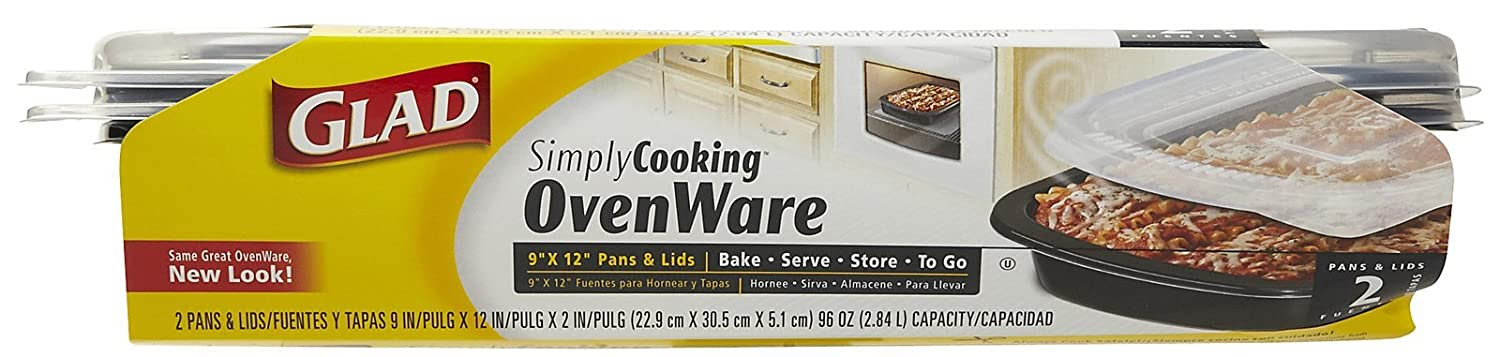 Amazon.com: Glad SimplyCooking OvenWare 9x12 Pans & Lids, 2 ct-2 ...