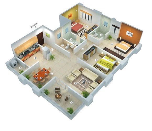 denah rumah type 45 3 kamar tidur  10 Desain Rumah  Minimalis