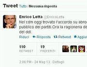 Il tweet di Letta in cui si annuncia l'abolizione del finanziametno pubblico