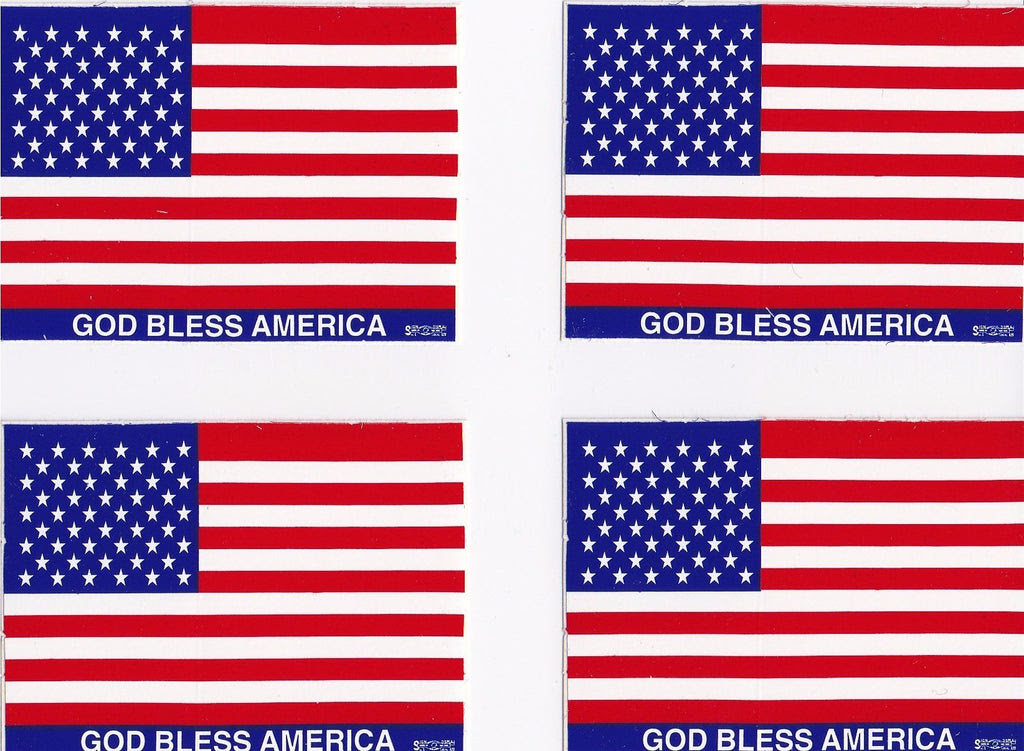 American Flag Hard Hat Sticker 4 Pack God Bless America Hard