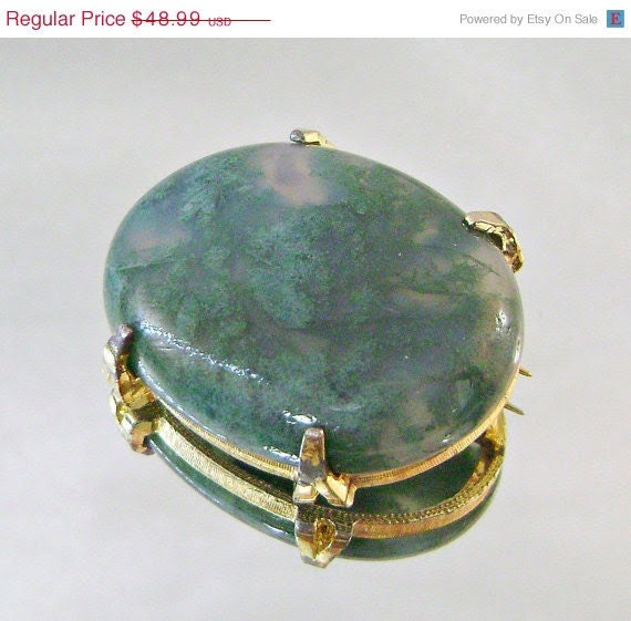 Hot Summer Sale Vintage Brooch Forest Green Moss Agate